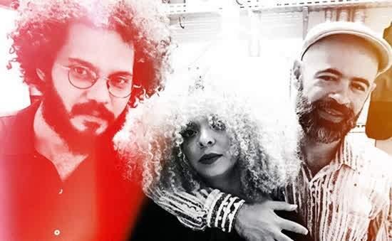 Espetáculo musical: Anelis Assumpção - da esquerda para a direita, Rodrigo Campos, AnelisAssumpção e Saulo Duarte