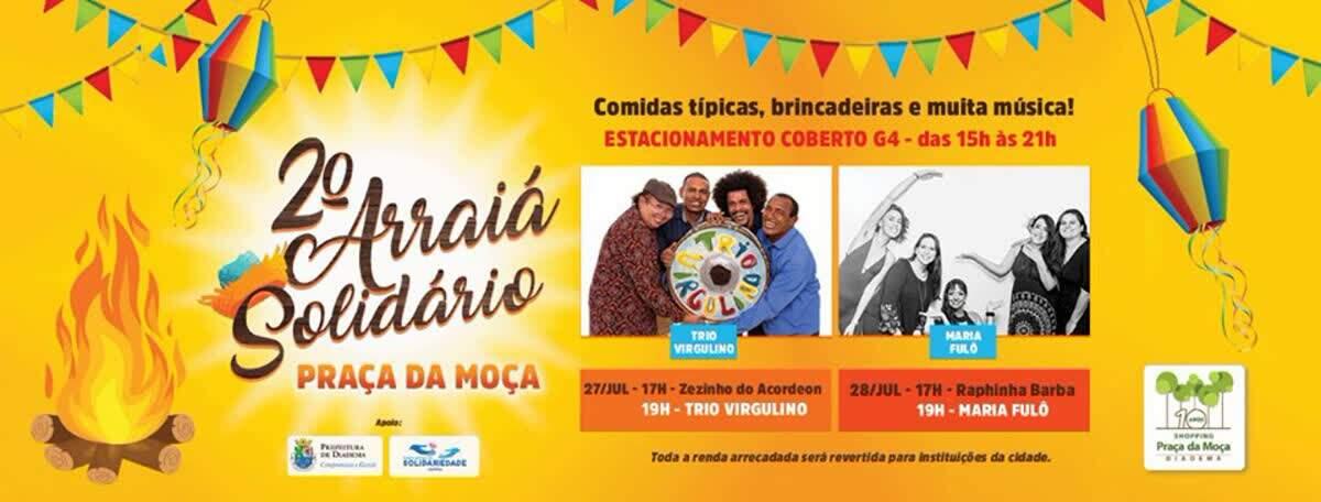 Próximo fim de semana tem programação musical especial no Arraiá Solidário do Shopping Praça da Moça