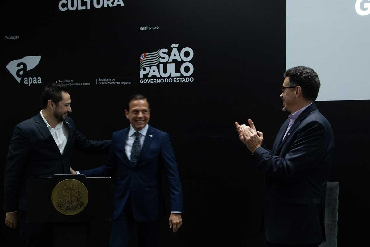 Governador João Doria, Secretário Sérgio Sá Leitão e Secretário Marco Vinholi