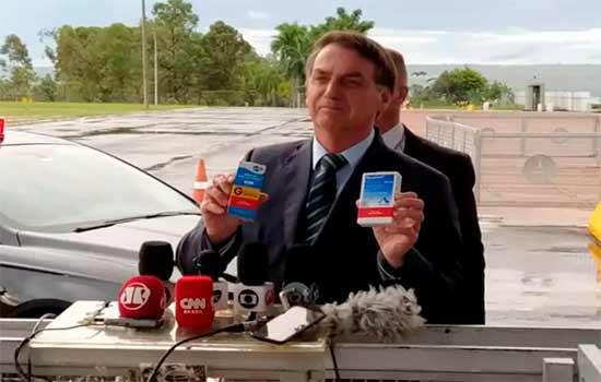 Jair Bolsonaro em ato para promoção de cloroquina