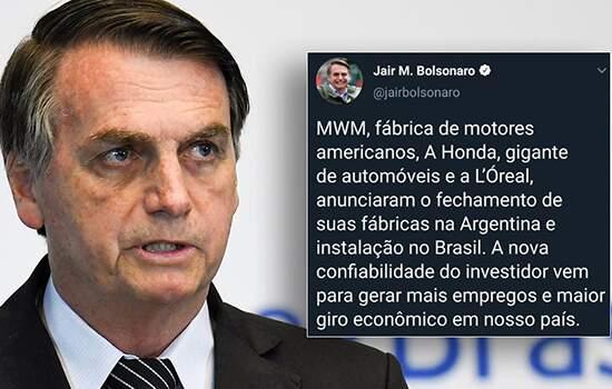 Cerca de uma hora depois, Bolsonaro apagou o tuíte.Procuradas, Honda e LOréal negaram que fecharão suas fábricas na Argentina.
