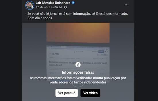Instagram bloqueia a publicação por informação falsa