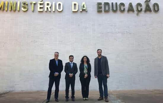 Da esquerda para direita: Monteiro, Costa Neto, Ana Paula e Azevedo em visita ao Ministério da Educação
