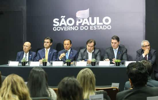 O Governador do Estado de São Paulo, João Doria, durante entrevista coletiva sobre Novo Sistema de Previdência dos Servidores. Com a presença do presidente da Camara dis Deputados