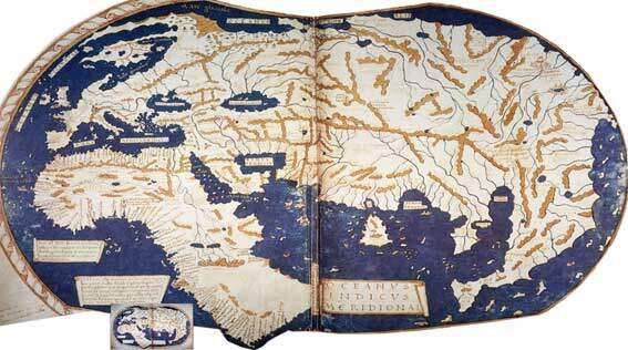 Mapa do cartógrafo alemão, Henricus Martellus, confeccionado em 1489- note que no mapa ainda não consta o continente americano, isso porque acreditava-se que ao sair da Europa e dar a volta ao mundo, o destino seria a Ásia, pois não conheciam as Américas