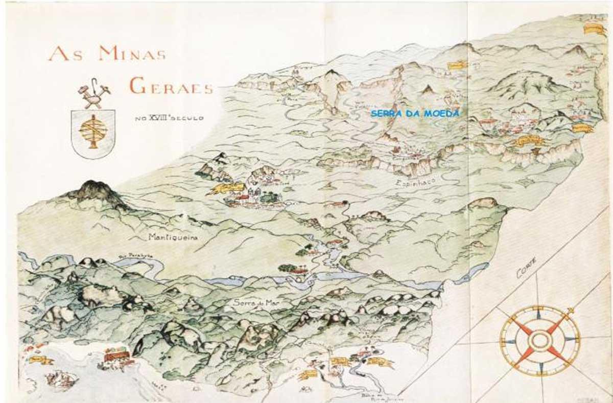 Mapa das Minas Gerais no século XVIII