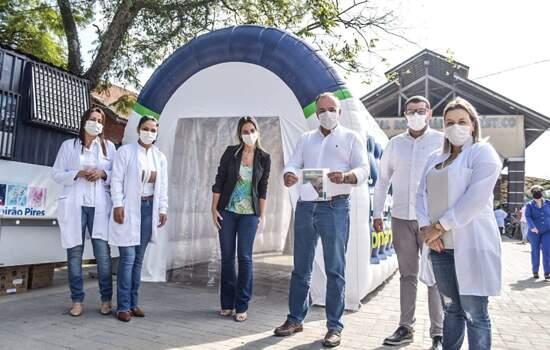 Ribeirão Pires instala túnel de desinfecção nos acessos à Rodoviária e Estação de Trem